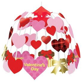 バレンタイン装飾 ラブリーチェックハート2段センター W60cm / 飾り ディスプレイ