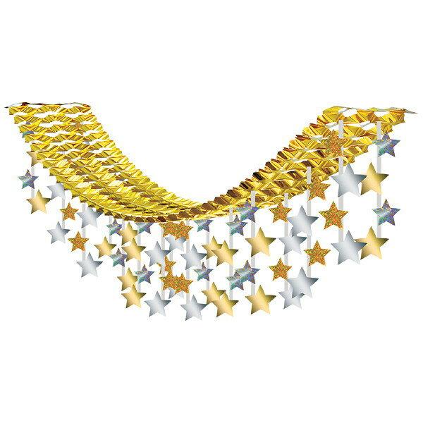 クリスマス装飾 ゴールドスターハンガー L180cm