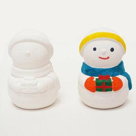 クリスマス手作り工作キット お絵かき陶器貯金箱 スノーマン 10個