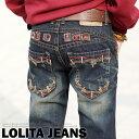 ハート模様刺繍のCUTEさにダメージ加工のクールな印象をプラス!Lolita Jeans ロリータジーンズ レディース ボーイフレンドデニム ボーイズデニム■ pat-300【10P05Dec15】