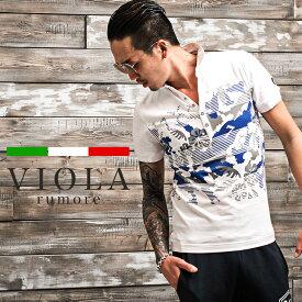 VIOLA rumore ヴィオラ ポロシャツ メンズ 半袖 半袖Tシャツ ポロ ボタニカル 花柄 キルト レッド ホワイト グレー 赤 白 お兄系 ホスト系 ゴルフ オラオラ系 ビター系 ビオラ JOKER ジョーカー