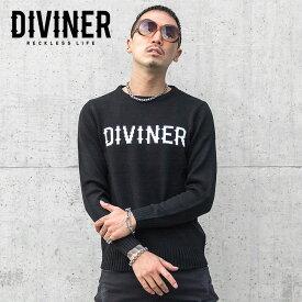 ニット メンズ ニットセーター セーター 長袖ニット クルーネック ロゴホワイト ブラック お兄系 ストリート オラオラ系 BITTER ビター系 JOKER ジョーカー DIVINER ディバイナー knit2018