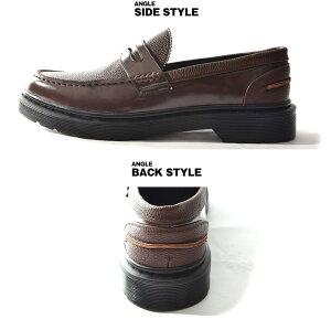 ローファーメンズビジネスシューズフォーマルコインローファーおしゃれ黒ブラック茶色ブラウン学生通学男子厚底靴革靴PUレザーフェイクレザーホストきれいめカッコいいビター系BITTER系ジョーカー
