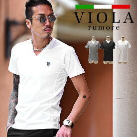 VIOLA rumore ヴィオラ Tシャツ メンズ 半袖 Vネック tシャツ 7 ワッペン トップス プリント プレート タイト XL LL ブランド ブラック ホワイト お兄系 サーフ系 ストリート系 オラオラ系 BITTER ビター系 ジョーカー joker