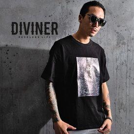 DIVINER ディバイナー tシャツ メンズ カットソー 半袖 ゆったり ビックシルエット コットン 綿 おしゃれ 大きいサイズ お兄系 黒 白 ブラック ホワイト コットン ストリート ビッグ ビッグシルエット ブランド 大きいサイズ LL XL