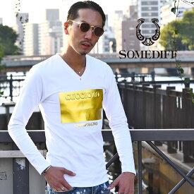 ロンt メンズ ブランド vネック Tシャツ 長袖Tシャツ プリント ロゴt 長袖 トップス 服 大きいサイズ LL XL ホワイト ブラック 白 黒 箔 金 ゴールド エンボス加工 服 オラオラ系 ビター系 お兄系 メンズファッション SOMEDIFF サムディフ
