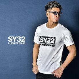 sy32 by sweet years Tシャツ メンズ ロゴ 新作 カットソー 半袖 半袖Tシャツ ロゴ 大きいサイズ LL XL ブランド お兄系 派手 ロゴ 黒 白 ブラック ホワイト ストリート サッカー ブランド エスワイサーティトゥ スウィートイヤーズ TNS1733J