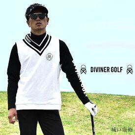 ゴルフウェア メンズベスト メンズ パンツ 春 夏 秋 おしゃれ お洒落 大きいサイズ LL XL ウェア ホワイト 白 ネイビー 紺 半袖 DIVINER GOLF ディバイナーゴルフ スカル