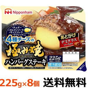 日本ハム 極み焼き チーズ入りハンバーグステーキ225gX8袋 めっちゃ旨いハンバーグ見つけました!! 【冷蔵商品】 【送料無料】