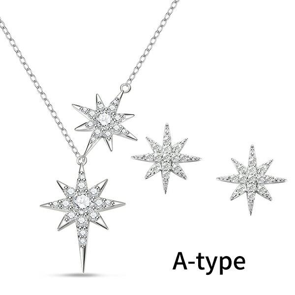 ネックレスピアスレディースセット純銀製星モチーフスター可愛い大人上品クリスマスプレゼントアレルギー対応ラッピング