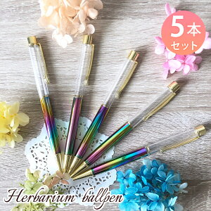 ハーバリウムボールペン 中栓改良タイプ 本体のみ 5本セット 手作り キット ゴールド DIY専用 ハンドメイド オリジナル ペン ハーバリウム レジン (レインボー5本セット)