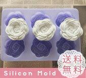 バラ大6個薔薇花シリコンモールドレジンアロマハイストーン石膏手作り石鹸レジン樹脂粘土シリコン型抜き型【オススメ】シリコンプレート型取りオルゴナイトかわいい石けんキャンドル立体的花びらフラワーローズ型