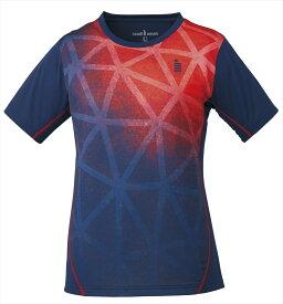 【!ウェアのみ5%OFFクーポン配布中!】ゴーセン GOSEN T1721 テニス・バドミントン ウェア(レディース) レディースゲームシャツ ネイビー 17FW