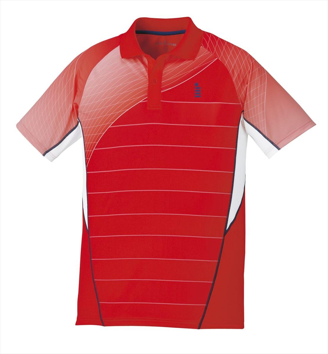 ゴーセン GOSEN T1700 テニス・バドミントン ウェア(メンズ/ユニ) ゲームシャツ レッド 17SS
