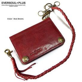 c6ab9da1ad09 財布 二つ折り財布 メンズ レザー 本革 コンパクト ウォレット 革 ウォレットチェーン 黒 ブラック レッド