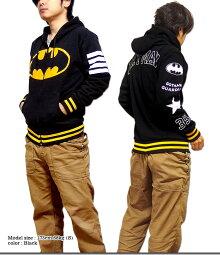 バットマンジップパーカーメンズ裏起毛ジップアップパーカー大きいサイズゆったりアメコミBATMANストリートHIPHOPブラックXLダンス衣装