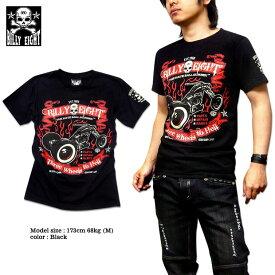 Tシャツ メンズ バイカー ロック ブラック 黒 BILLY EIGHT モーターサイクル バイカー ロカビリー プリント 半袖 大きいサイズ メンズファッション