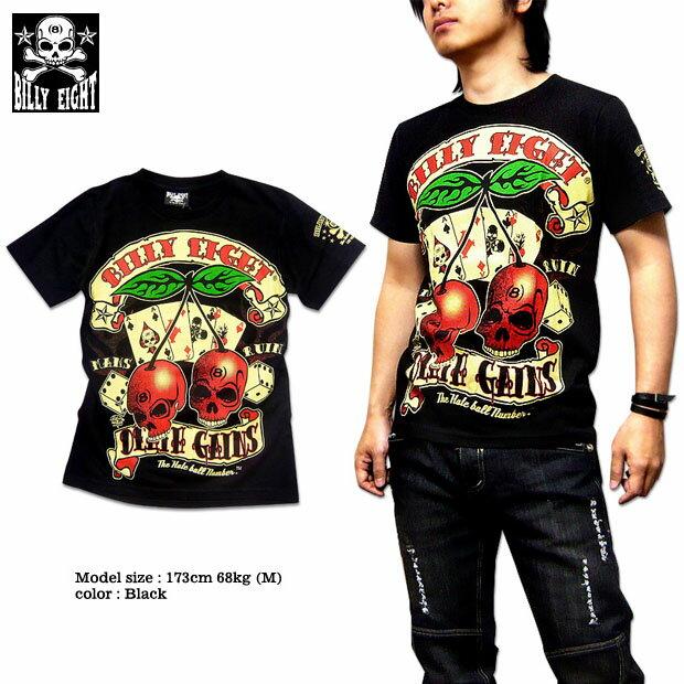 Tシャツ メンズ バイカー ロック ブラック 黒 大きいサイズ XXL 3L / BILLY EIGHT モーターサイクル バイカー ロカビリー プリント メンズ半袖Tシャツ!