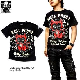 Tシャツ メンズ バイカー ロック ブラック 黒 BILLY EIGHT モーターサイクル バイカー ロカビリー キャット プリント 半袖 大きいサイズ メンズファッション