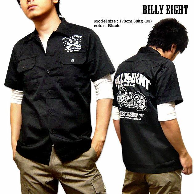 送料無料!ロカビリーシャツ ボーリングシャツ ダーツシャツ メンズ バイカー ロック ブラック 黒 / BILLY EIGHTのモーターサイクル刺繍メンズワークシャツ!