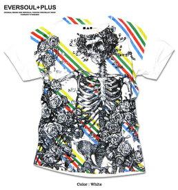 Tシャツ 半袖 メンズ スカル プリント Tシャツ : フルカラーインクジェットプリントのスカルローズ&ストライプがインパクト大の半袖メンズTシャツ!
