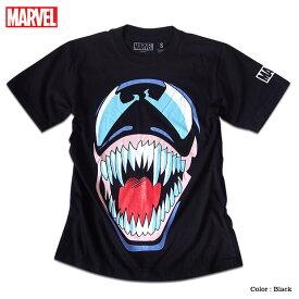 マーベル Tシャツ 半袖 ベノム スパイダーマン ヴェノム プリント キャラクター MARVEL アメコミ tシャツ グッズ メンズ キャラクター 黒 ブラック