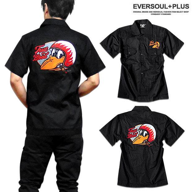 ロカビリーシャツ ボウリングシャツ ボーリングシャツ ダーツシャツ メンズ バイカー ロック 半袖 ブラック 黒 ワークシャツ 大きいサイズ XXL 3L モーターサイクル