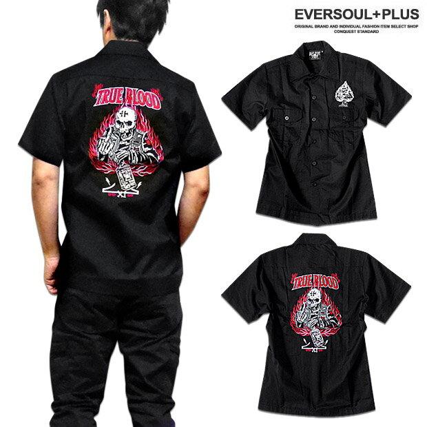 ロカビリーシャツ ボウリングシャツ ボーリングシャツ ダーツシャツ メンズ バイカー ロック 半袖 ブラック 黒 ワークシャツ 大きいサイズ スカル 刺繍 XXL 3L