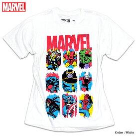 マーベル キャラクター ロゴ Tシャツ 半袖 スパイダーマン アイアンマン ハルク プリント MARVEL アメコミ tシャツ グッズ メンズ 白 ホワイト