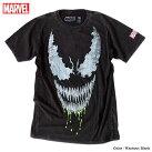 ベノムマーベルTシャツ半袖スパイダーマンヴェノムプリントキャラクターMARVELバイオウォッシュメンズキャラクター黒ブラック