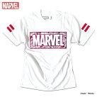 マーベルTシャツ半袖ボックスロゴ箔プリントMARVELアメコミtシャツグッズメンズキャラクター白ホワイト