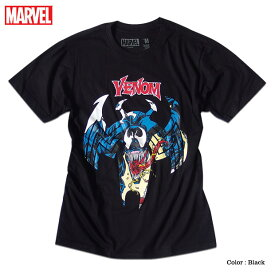 ベノム マーベル Tシャツ 半袖 スパイダーマン ヴェノム プリント キャラクター MARVEL アメコミ tシャツ グッズ メンズ キャラクター 黒 ブラック