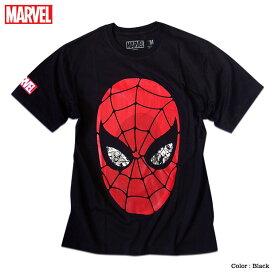マーベル Tシャツ 半袖 スパイダーマン プリント キャラクター MARVEL アメコミ tシャツ グッズ メンズ キャラクター 黒 ブラック アベンジャーズ