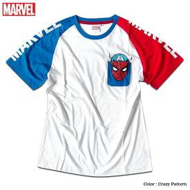 スパイダーマン ラグラン Tシャツ メンズ MARVEL マーベル クレイジー切替 ポケット付き ストリート 原宿系 ダンス 衣装