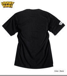 バックスバニーTシャツメンズ半袖ルーニーテューンズキャラクターブラック黒可愛いおしゃれアメコミロゴ