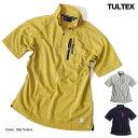 Tシャツ メンズ 半袖 シャツ ハイネック 鹿の子 TULTEX タルテックス ドライ ジップアップ ジッパー ポケット付き スポーツ ウォーキン…