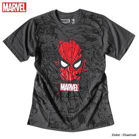 スパイダーマン プリント Tシャツ メンズ 総柄 マーベル 半袖 キャラクター MARVEL アメコミ tシャツ グッズ