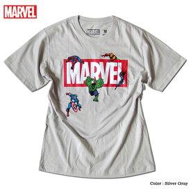 スパイダーマン アイアンマン マーベル Tシャツ 半袖 プリント ロゴ キャラクター MARVEL アメコミ tシャツ グッズ メンズ グレー