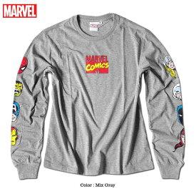 マーベル Tシャツ ロンT 袖 プリント ロゴ MARVEL スパイダーマン アイアンマン 長袖 ロングTシャツ グッズ メンズ