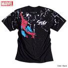 スパイダーマンプリントTシャツメンズペイントドリッピングマーベル半袖キャラクターMARVELアメコミtシャツグッズ黒ブラック