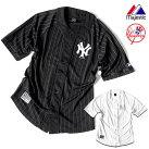 ベースボールシャツメンズニューヨークヤンキースマジェスティックMajesticユニフォームメッシュシャツHIPHOPストリートスポーツダンス衣装ストライプ白黒