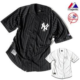 ベースボールシャツ メンズ ニューヨーク ヤンキース マジェスティック Majestic ユニフォーム メッシュ シャツ HIPHOP ストリート スポーツ ダンス 衣装 ストライプ 白 黒