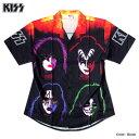 KISS キッス シャツ 半袖シャツ グッズ メンズ ブラック 総柄 プリント 派手 ボタン ハワイアンシャツ アロハシャツ バンド メンバー …