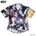 KISS キッス シャツ 半袖シャツ グッズ メンズ ブラック 総柄 コラージュ プリント 派手 ボタン ハワイアンシャツ アロハシャツ バンド…