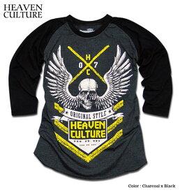 7分袖 Tシャツ ラグラン 七分袖 メンズ ウイング スカル : バイカーロックテイスト満点のプリントが入ったラグラン切替メンズ7分袖Tシャツ!