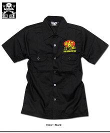 ロカビリーシャツボーリングシャツダーツシャツメンズバイカーロック半袖シャツブラック黒/BILLYEIGHTのモーターサイクル刺繍メンズ半袖シャツ!(ロックライダーXXL3L)