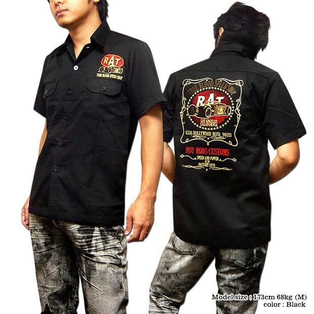 ロカビリーシャツ ボーリングシャツ ダーツシャツ メンズ バイカー ロック 半袖シャツ ブラック 黒 XXL 3L / BILLY EIGHTのモーターサイクル刺繍メンズワークシャツ!