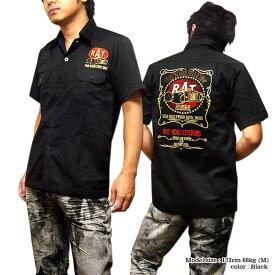 ロカビリーシャツ ボーリングシャツ ダーツシャツ メンズ バイカー ロック 半袖シャツ ブラック 黒 XXL 3L モーターサイクル 刺繍 ワークシャツ 大きいサイズ メンズファッション