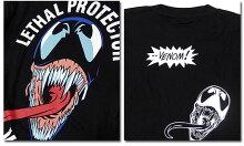 マーベルTシャツ半袖スパイダーマンヴェノムプリントキャラクターMARVELアメコミtシャツグッズメンズキャラクター黒ブラック