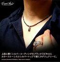 EVERSOUL ブラックスピネル ネックレス メンズ ストーン チャーム シルバー925 トップ ブラックスピネルネックレス